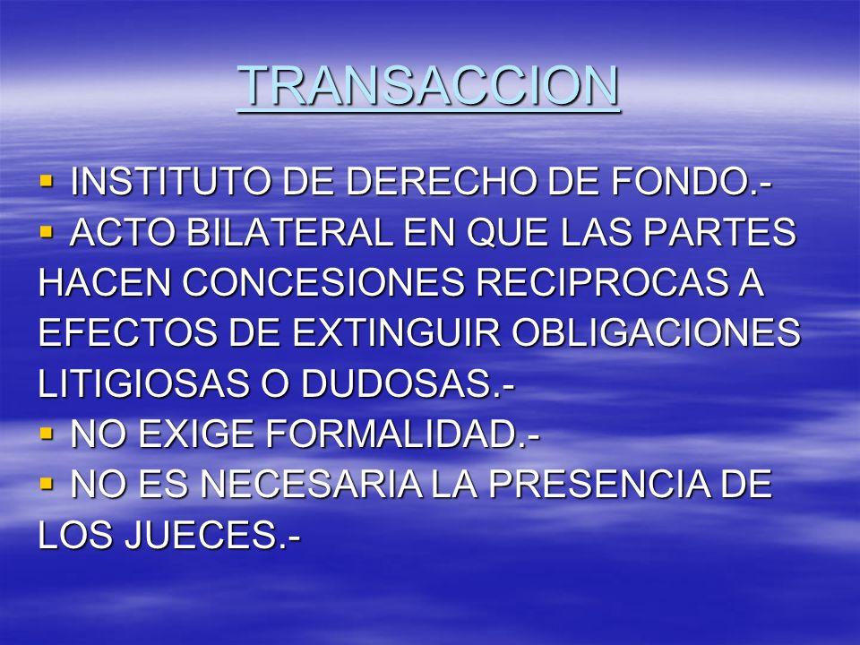 TRANSACCION INSTITUTO DE DERECHO DE FONDO.-