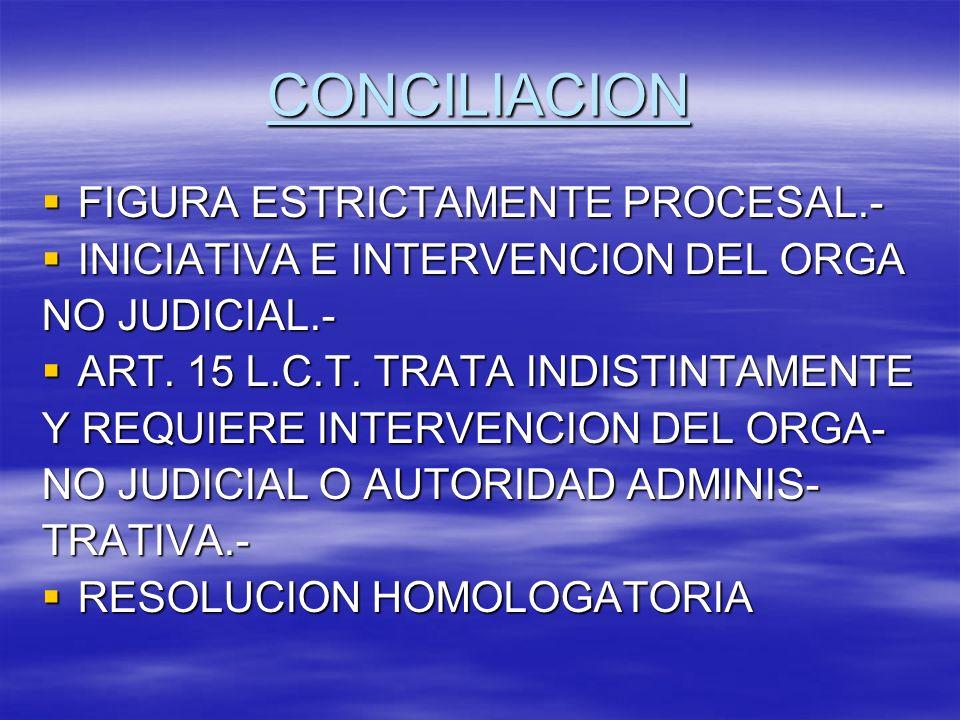 CONCILIACION FIGURA ESTRICTAMENTE PROCESAL.-