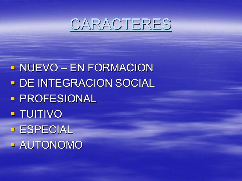 CARACTERES NUEVO – EN FORMACION DE INTEGRACION SOCIAL PROFESIONAL