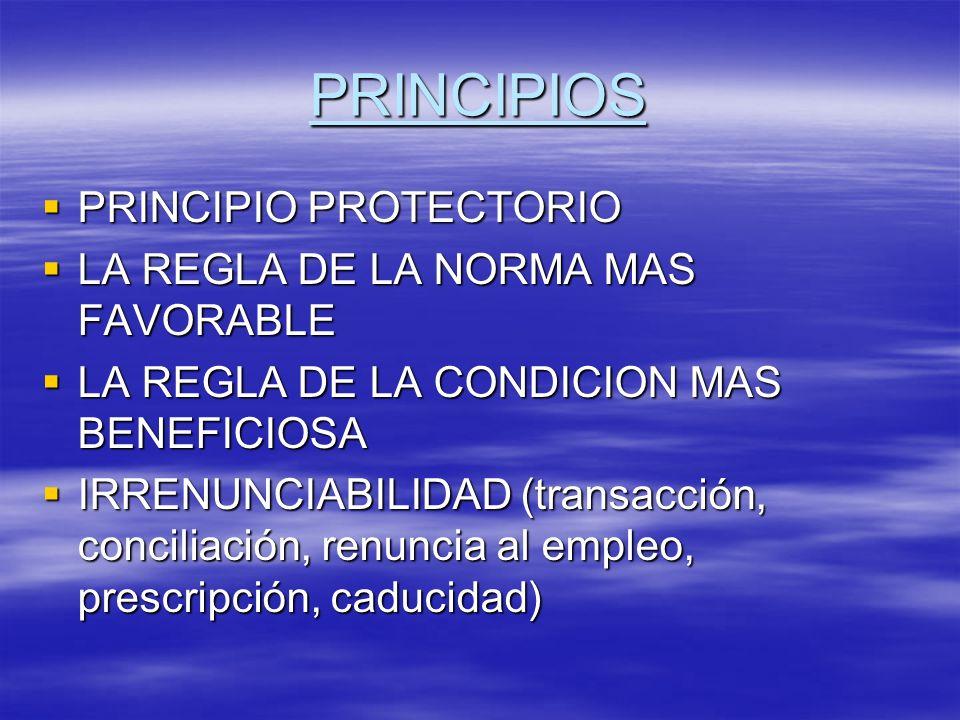 PRINCIPIOS PRINCIPIO PROTECTORIO LA REGLA DE LA NORMA MAS FAVORABLE