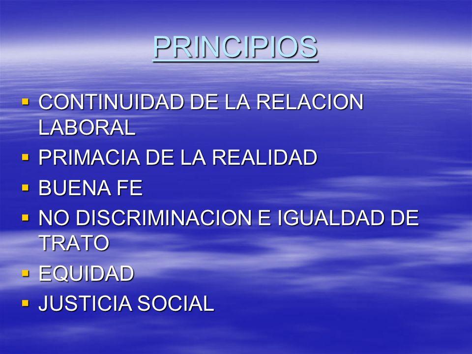 PRINCIPIOS CONTINUIDAD DE LA RELACION LABORAL PRIMACIA DE LA REALIDAD