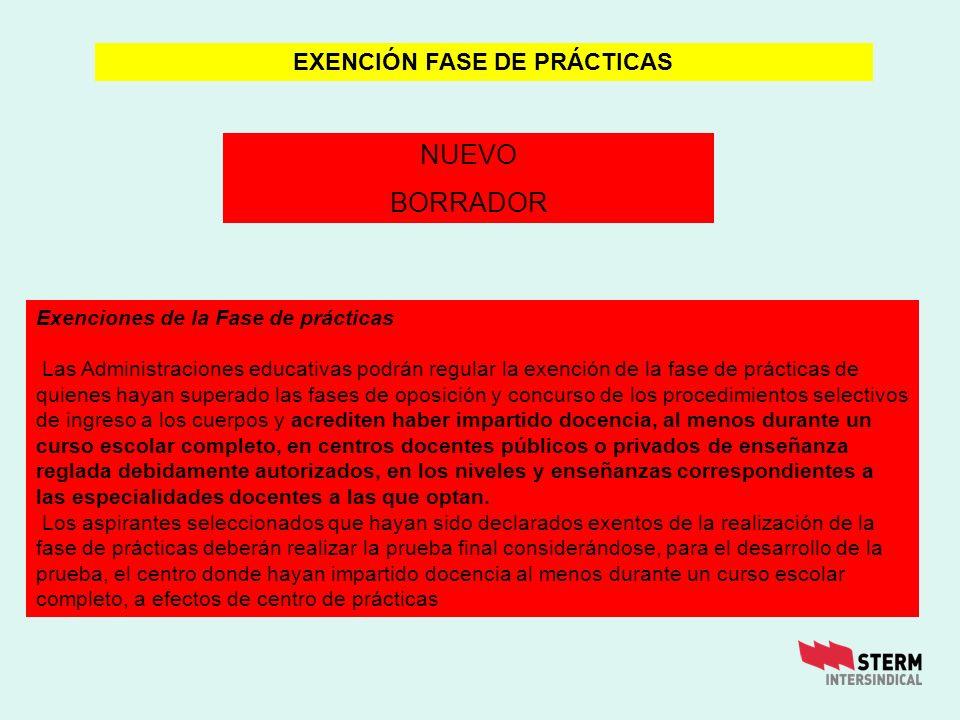EXENCIÓN FASE DE PRÁCTICAS