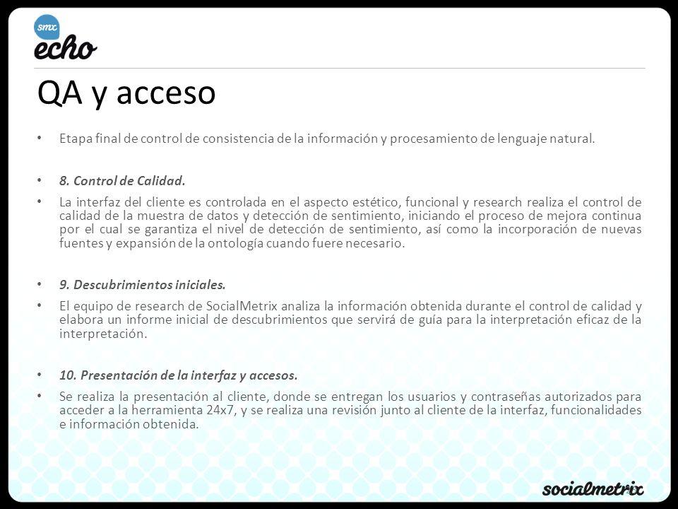 QA y acceso Etapa final de control de consistencia de la información y procesamiento de lenguaje natural.