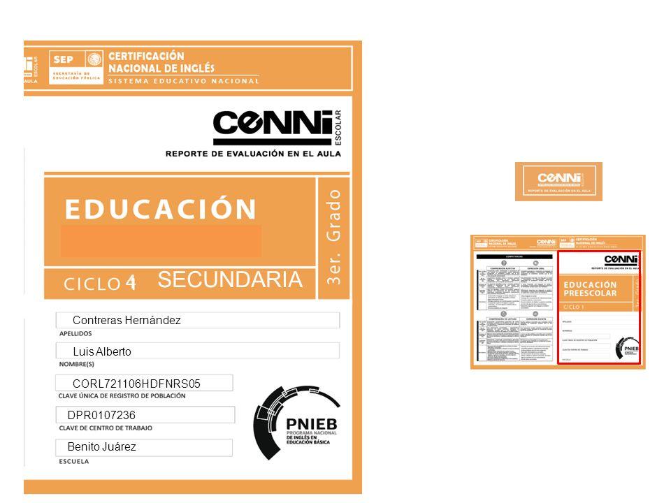 SECUNDARIA 4 Contreras Hernández Luis Alberto CORL721106HDFNRS05