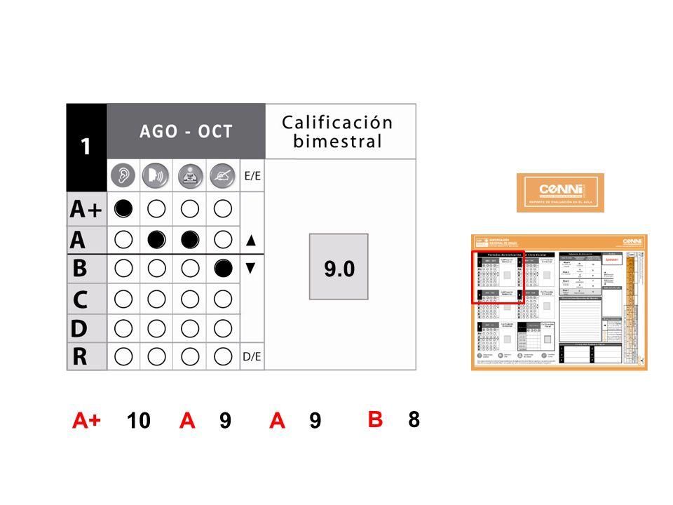 E v a l u a c i ó n 9.0. El sistema calculará automáticamente el promedio bimestral en forma numérica.