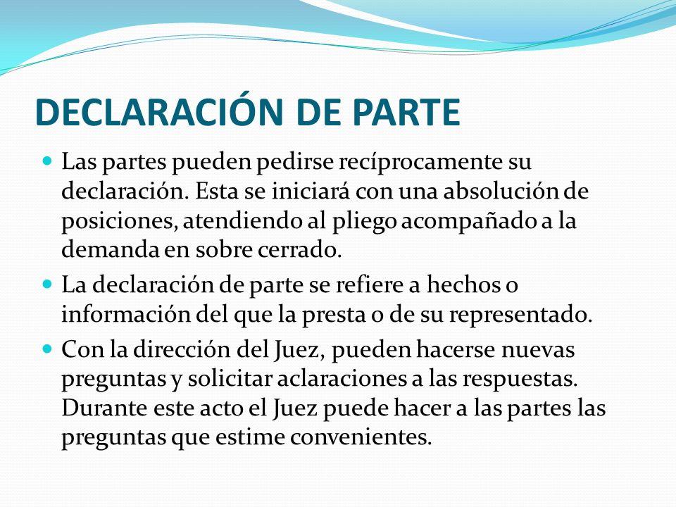 DECLARACIÓN DE PARTE