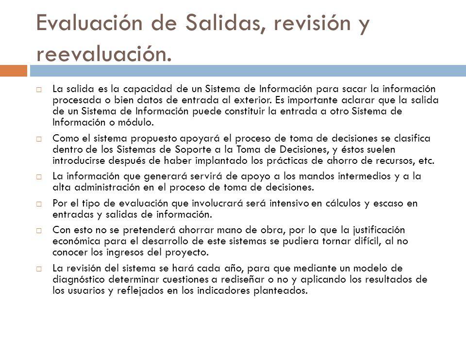 Evaluación de Salidas, revisión y reevaluación.
