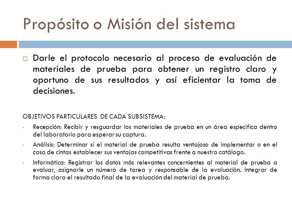 Propósito o Misión del sistema
