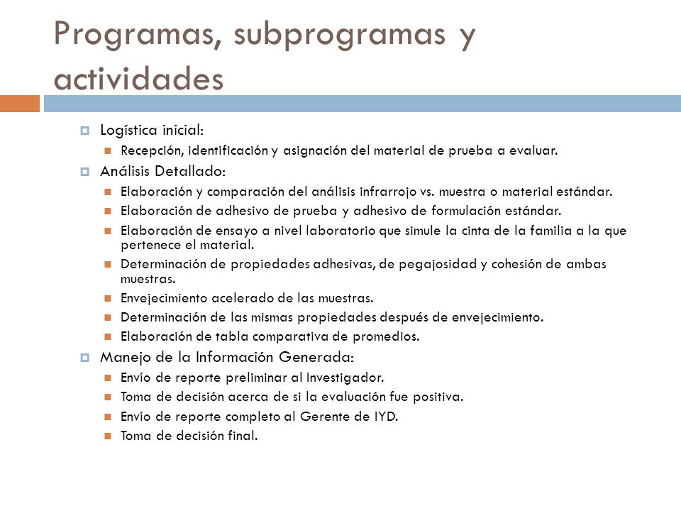 Programas, subprogramas y actividades