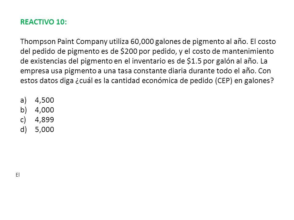 REACTIVO 10:
