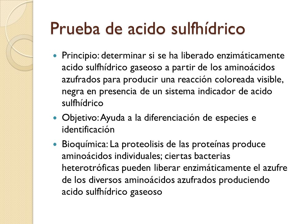 Prueba de acido sulfhídrico
