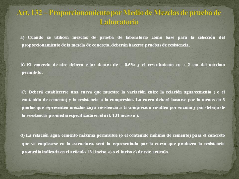 Art. 132 – Proporcionamiento por Medio de Mezclas de prueba de Laboratorio