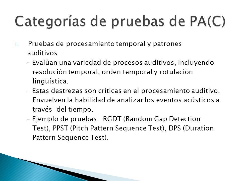 Categorías de pruebas de PA(C)