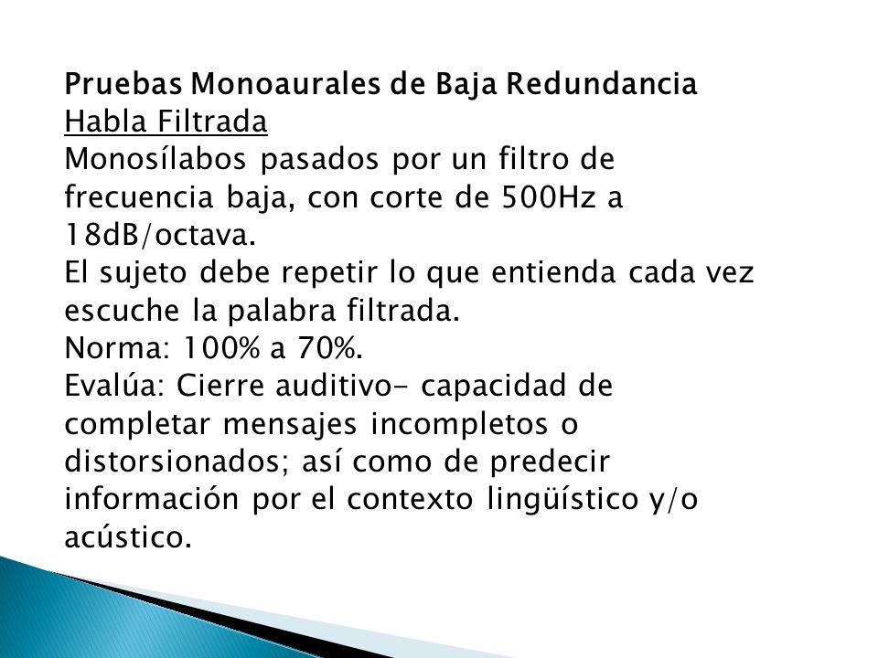 Pruebas Monoaurales de Baja Redundancia Habla Filtrada Monosílabos pasados por un filtro de frecuencia baja, con corte de 500Hz a 18dB/octava.