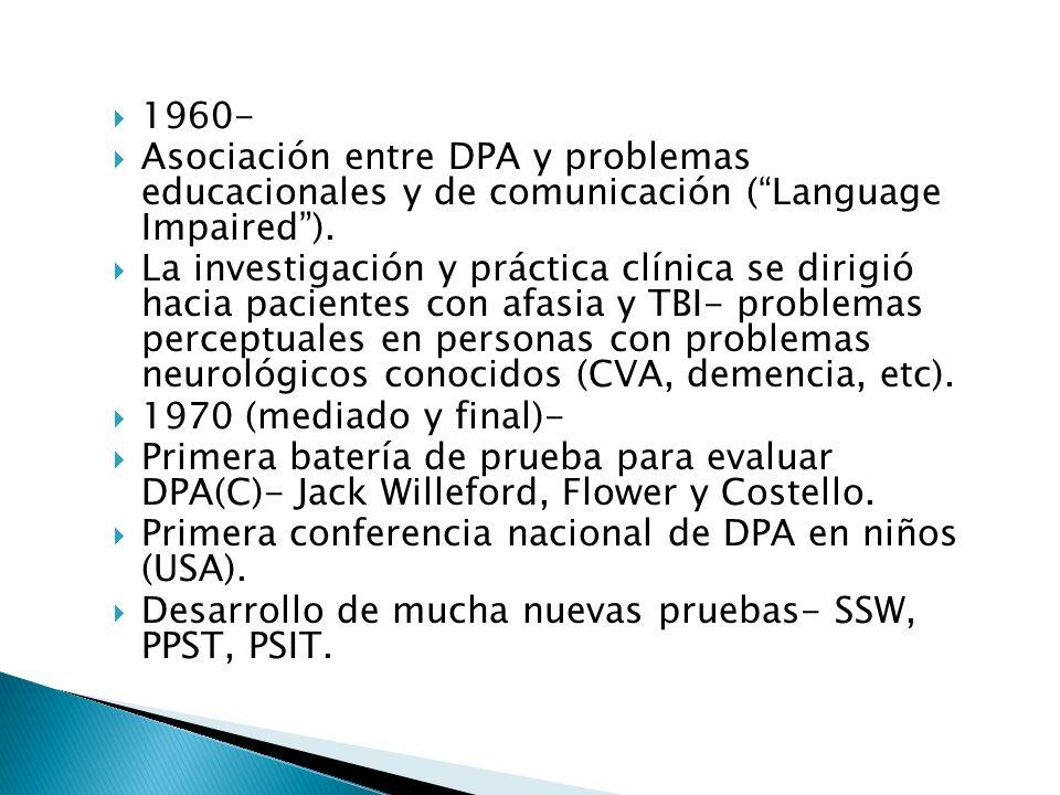 1960- Asociación entre DPA y problemas educacionales y de comunicación ( Language Impaired ).