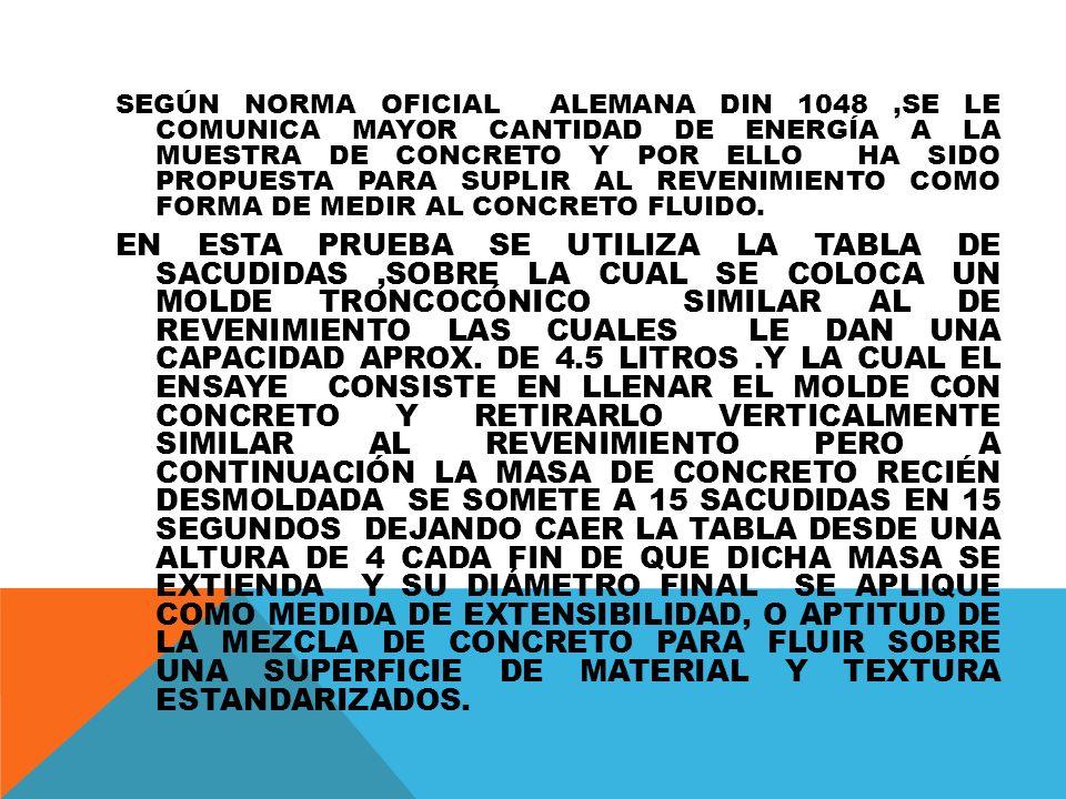 SEGÚN NORMA OFICIAL ALEMANA DIN 1048 ,SE LE COMUNICA MAYOR CANTIDAD DE ENERGÍA A LA MUESTRA DE CONCRETO Y POR ELLO HA SIDO PROPUESTA PARA SUPLIR AL REVENIMIENTO COMO FORMA DE MEDIR AL CONCRETO FLUIDO.