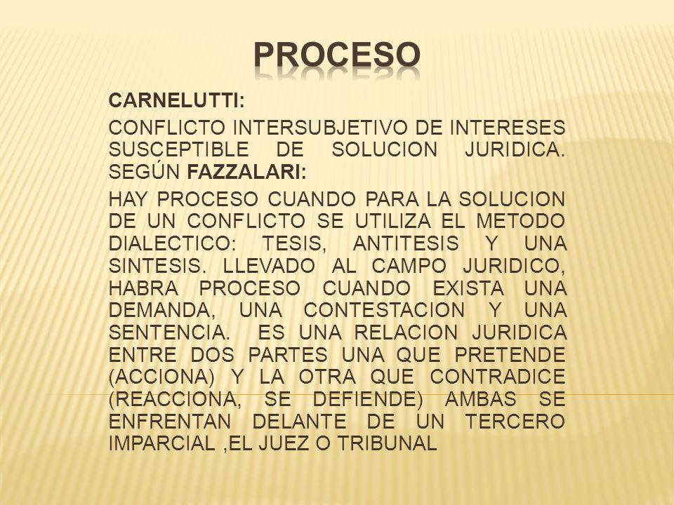 PROCESO CARNELUTTI: CONFLICTO INTERSUBJETIVO DE INTERESES SUSCEPTIBLE DE SOLUCION JURIDICA. SEGÚN FAZZALARI: