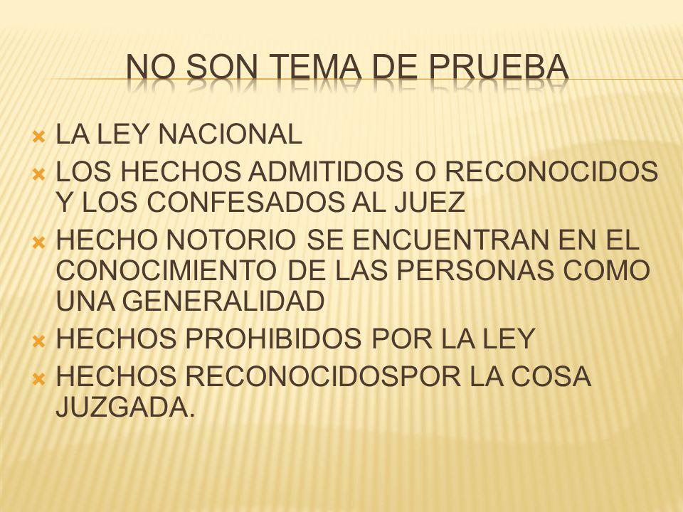 NO SON TEMA DE PRUEBA LA LEY NACIONAL