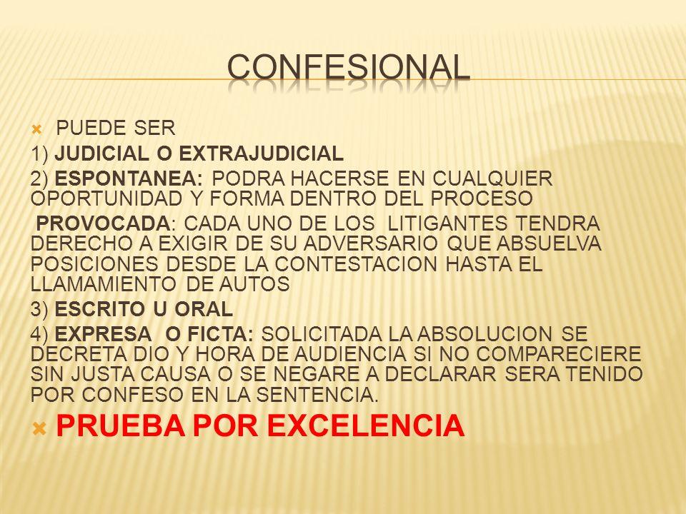 CONFESIONAL PRUEBA POR EXCELENCIA PUEDE SER