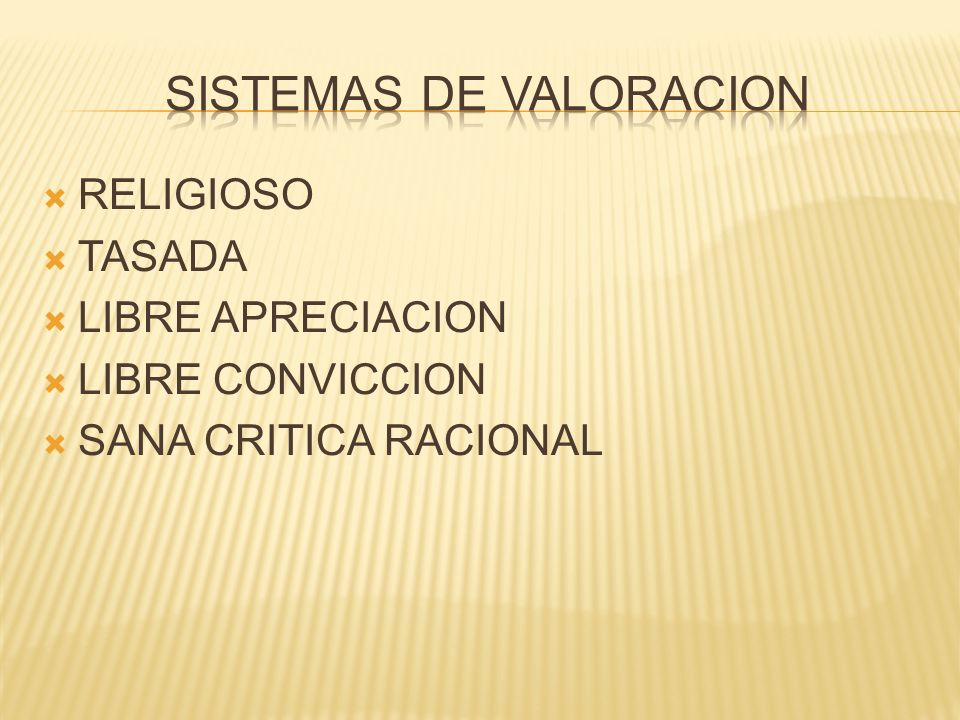 SISTEMAS DE VALORACION