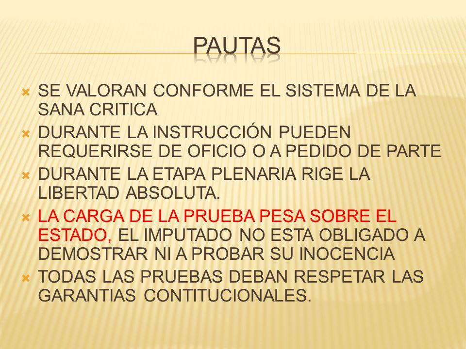 PAUTAS SE VALORAN CONFORME EL SISTEMA DE LA SANA CRITICA
