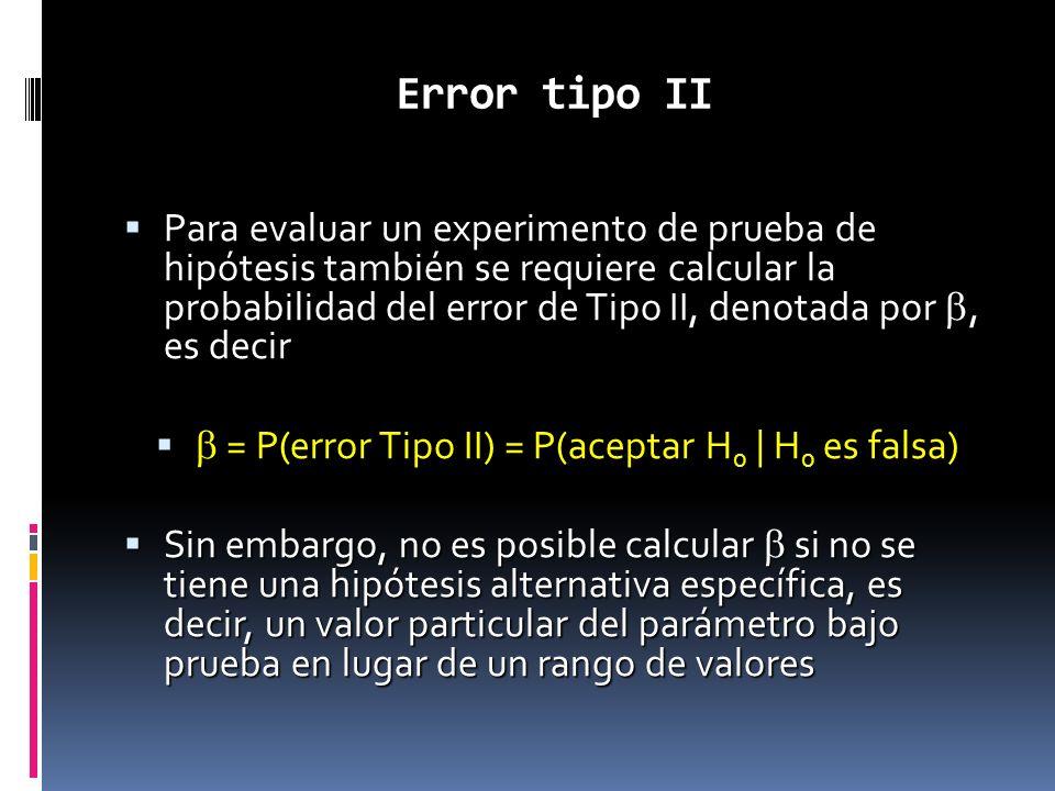 b = P(error Tipo II) = P(aceptar H0 | H0 es falsa)
