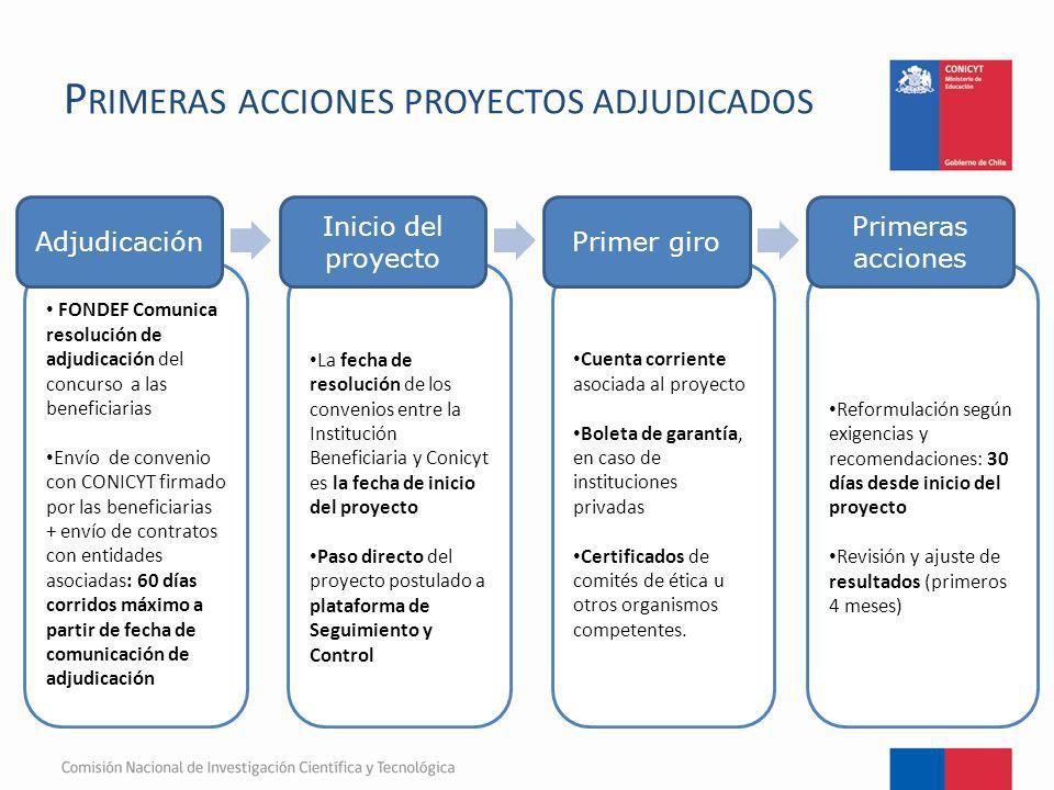Primeras acciones proyectos adjudicados