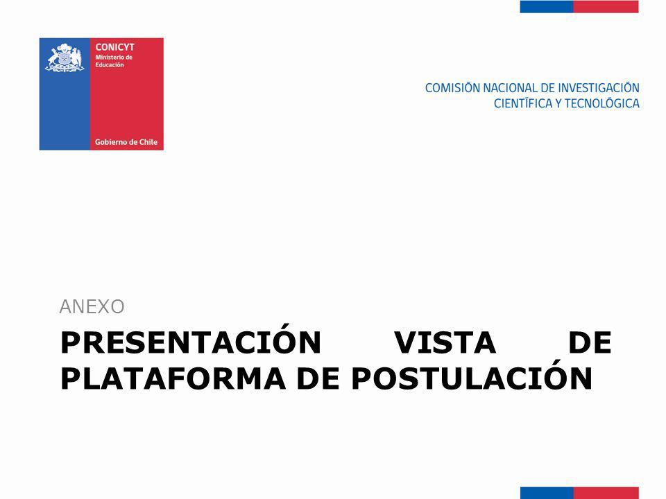 PRESENTACIÓN VISTA DE PLATAFORMA DE POSTULACIÓN