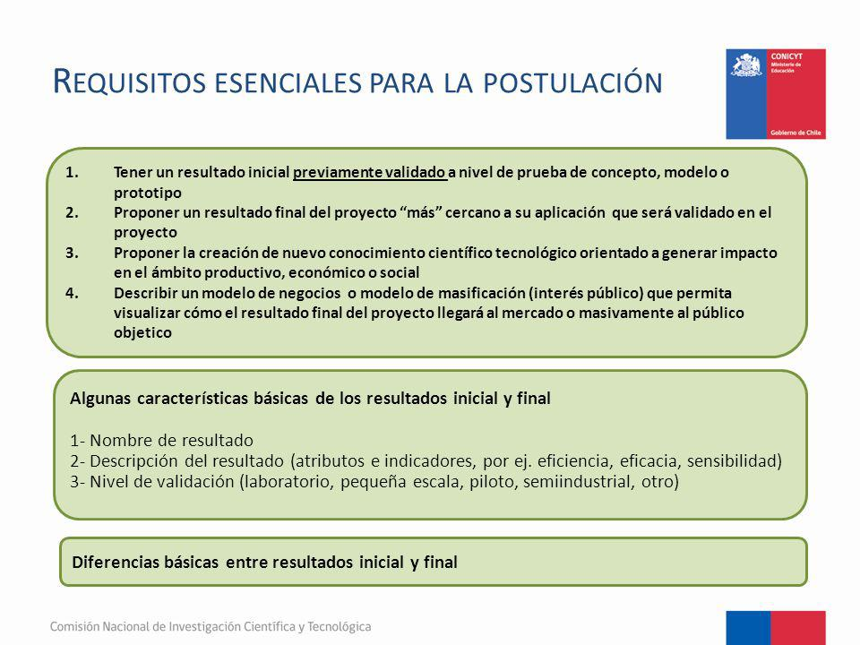 Requisitos esenciales para la postulación