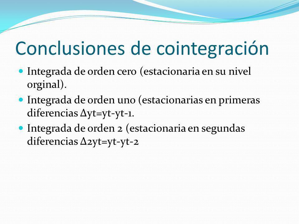 Conclusiones de cointegración