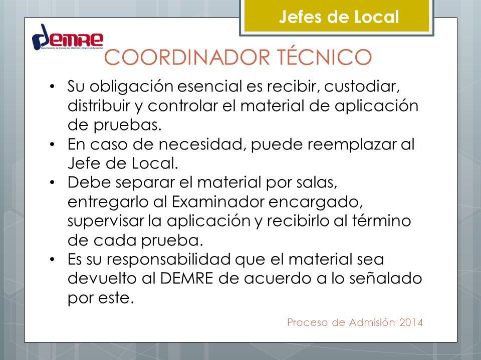 COORDINADOR TÉCNICO Jefes de Local