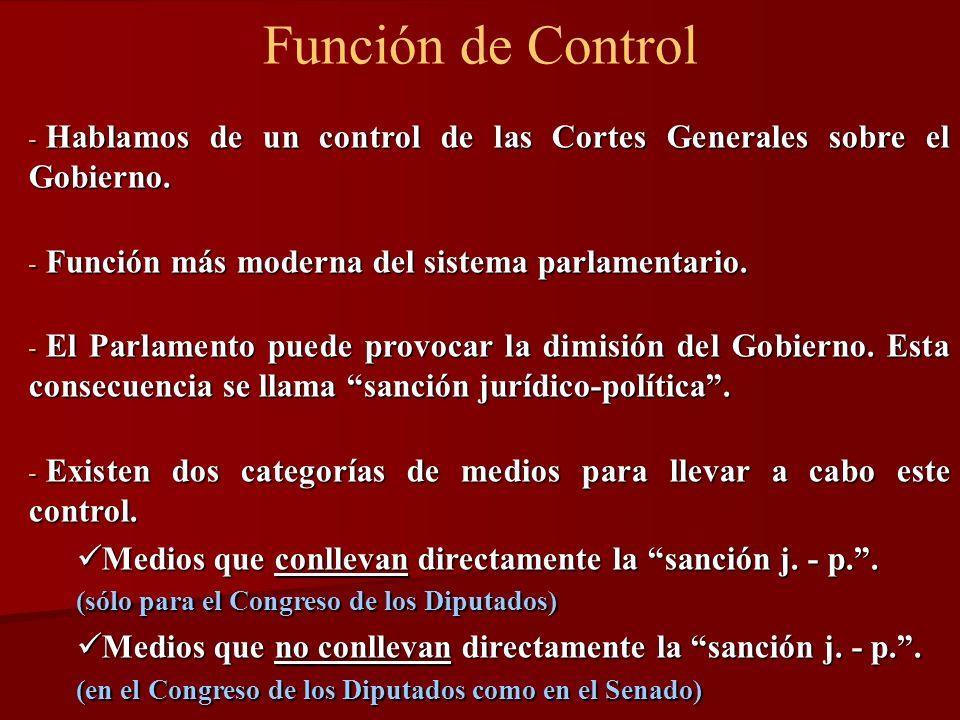Función de Control Hablamos de un control de las Cortes Generales sobre el Gobierno. Función más moderna del sistema parlamentario.