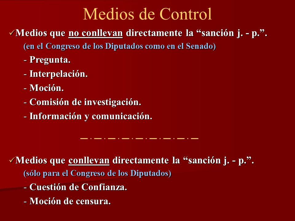Medios de Control Medios que no conllevan directamente la sanción j. - p. . (en el Congreso de los Diputados como en el Senado)