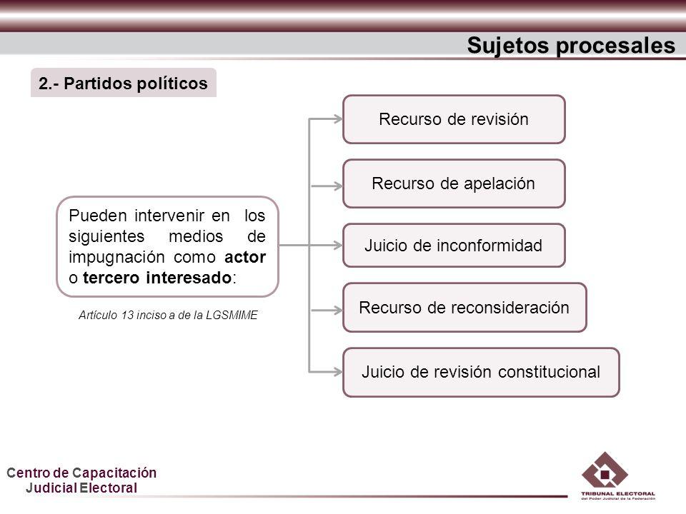 Sujetos procesales 2.- Partidos políticos Recurso de revisión