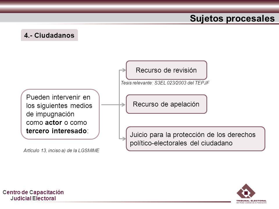 Sujetos procesales 4.- Ciudadanos Recurso de revisión
