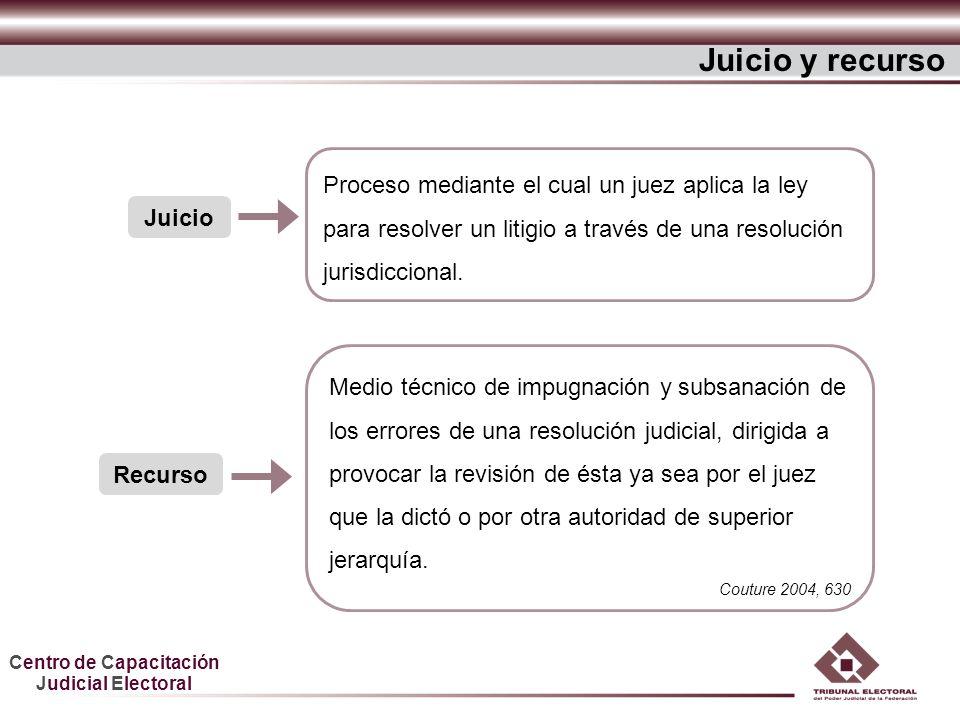 Juicio y recurso Proceso mediante el cual un juez aplica la ley para resolver un litigio a través de una resolución jurisdiccional.
