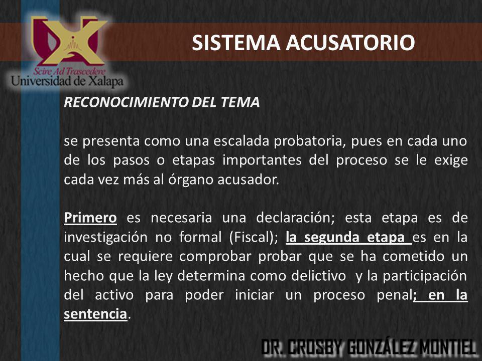 SISTEMA ACUSATORIO RECONOCIMIENTO DEL TEMA