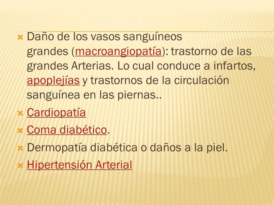 Daño de los vasos sanguíneos grandes (macroangiopatía): trastorno de las grandes Arterias. Lo cual conduce a infartos, apoplejías y trastornos de la circulación sanguínea en las piernas..