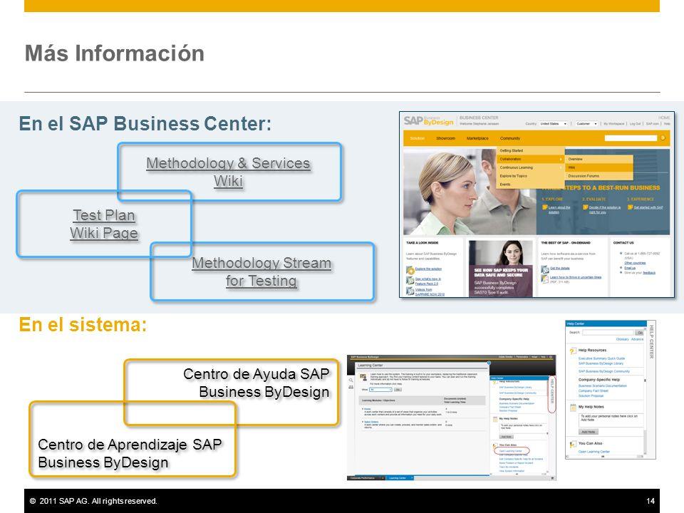 Más Información En el SAP Business Center: En el sistema:
