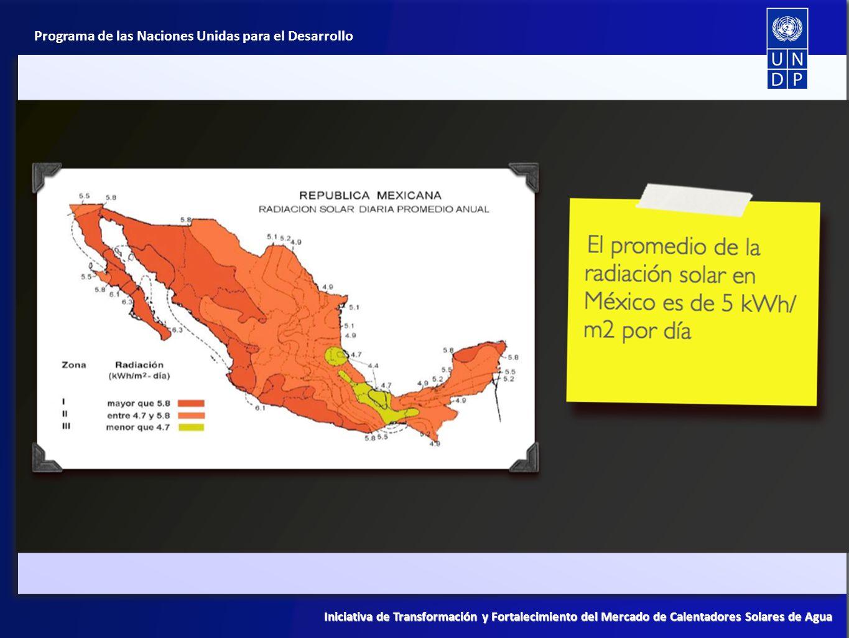 El componente de México representa un espacio de acompañamiento muy importante para fortalecer lo que hasta ahora se ha venido haciendo en México en materia de Fomento a las Energías Renovables, particularmente con el Programa de Fomento a Calentadores Solares (PROCALSOL), impulsado desde la Secretaría de Energía (SENER) y la Comisión Nacional para el Uso Eficiente de la Energía (CONUEE).
