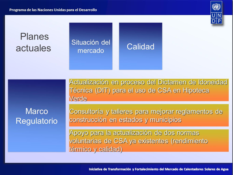 Planes actuales Calidad Marco Regulatorio Situación del mercado