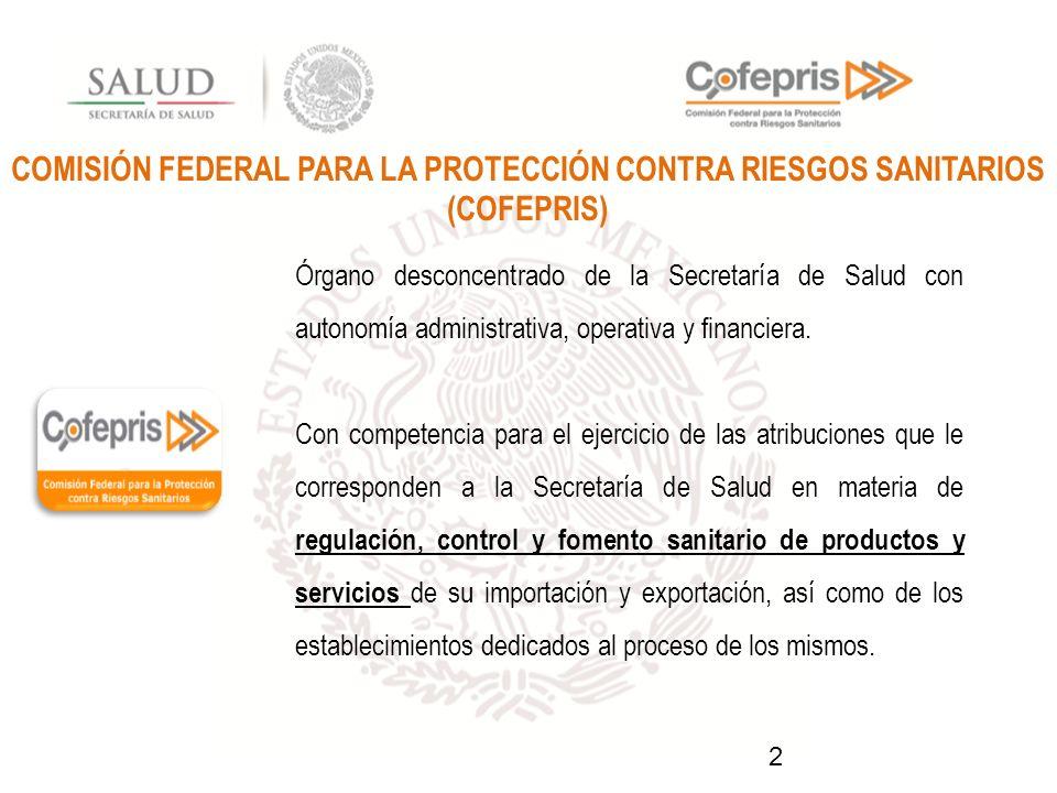 COMISIÓN FEDERAL PARA LA PROTECCIÓN CONTRA RIESGOS SANITARIOS (COFEPRIS)