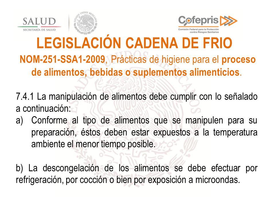 LEGISLACIÓN CADENA DE FRIO