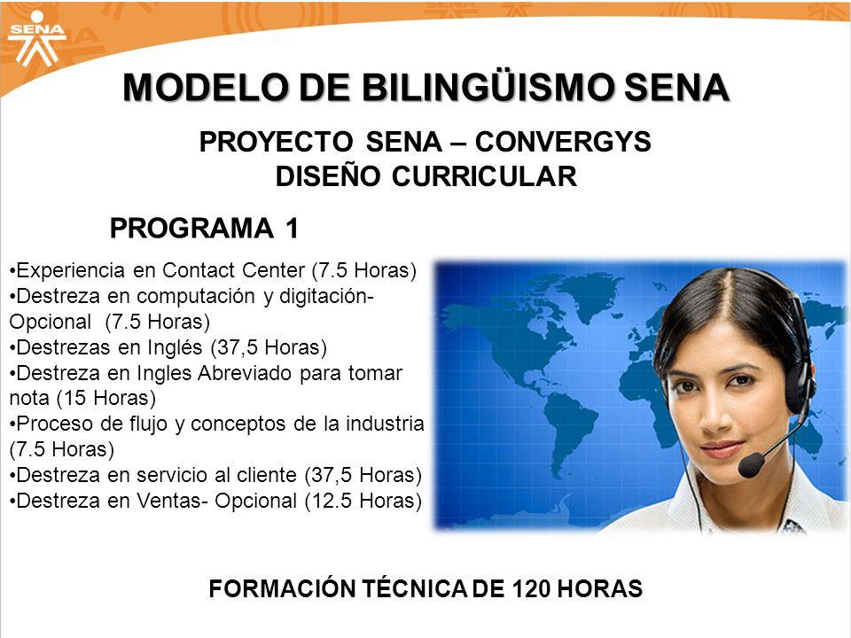 PROYECTO SENA – CONVERGYS FORMACIÓN TÉCNICA DE 120 HORAS