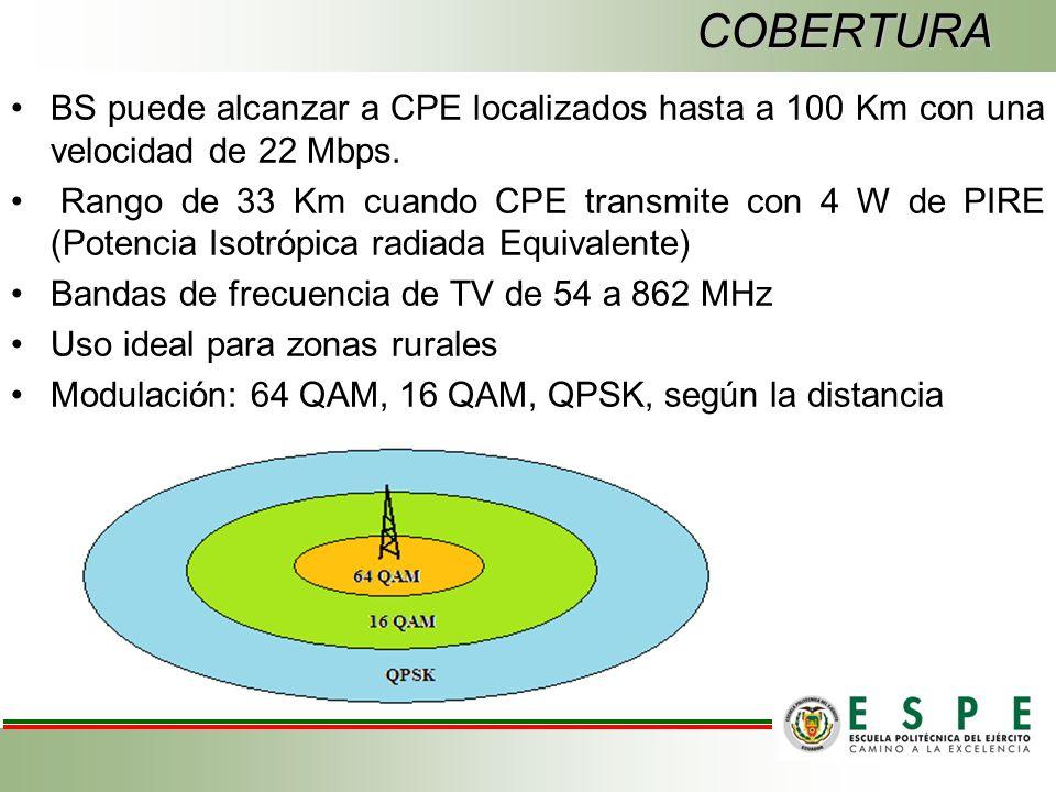 COBERTURA BS puede alcanzar a CPE localizados hasta a 100 Km con una velocidad de 22 Mbps.