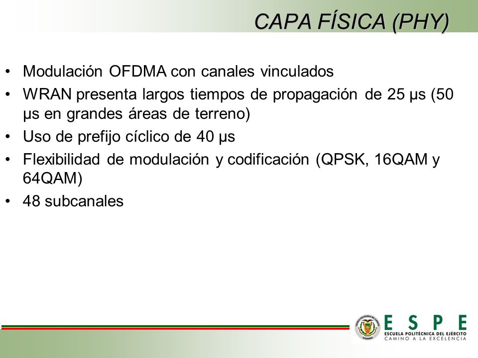 CAPA FÍSICA (PHY) Modulación OFDMA con canales vinculados