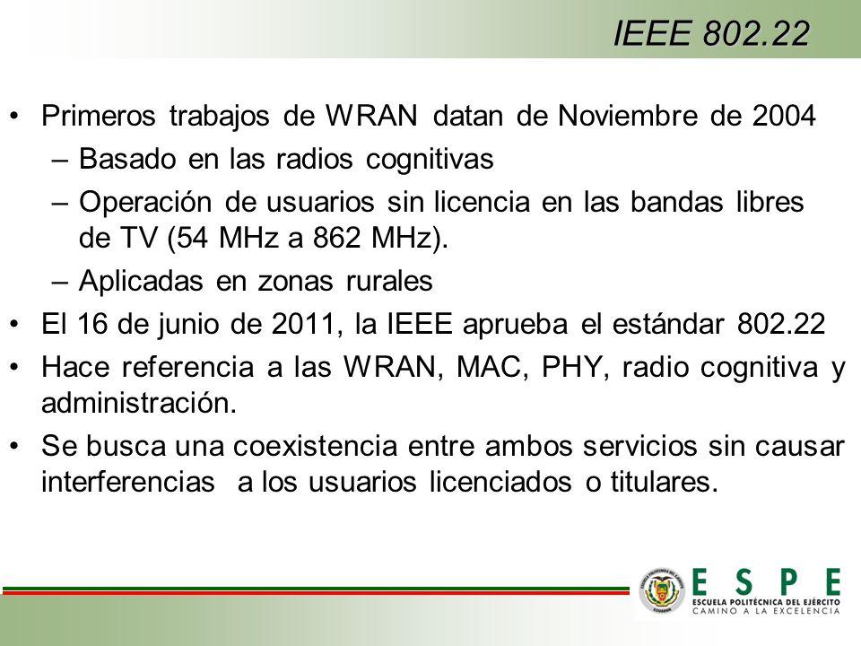 IEEE 802.22 Primeros trabajos de WRAN datan de Noviembre de 2004