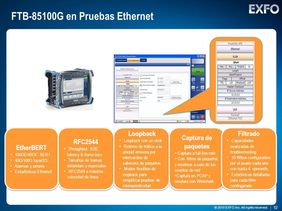 FTB-85100G en Pruebas Ethernet