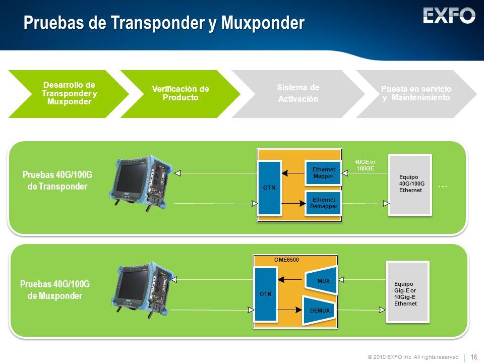 Pruebas de Transponder y Muxponder