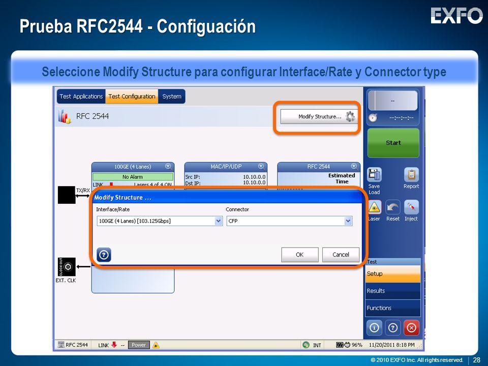 Prueba RFC2544 - Configuación